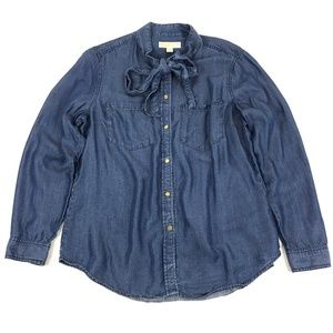 MICHAEL Michael Kors Chambray Neck Tie Top Size XL